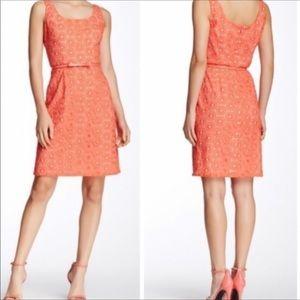 Adrianna Papell Orange Eyelet Sleeveless Dress